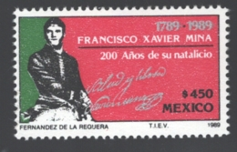Mexico - Mexique 1989 Yvert 1294, Bicentenary Of The Birth Of The General Francisco Xavier Mina - MNH - Mexique