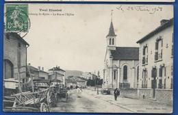 Faubourg  St Epvre   La Rue  Et L'Eglise       Animées    écrite En 1908 - Autres Communes