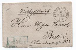 GUERRE DE 1870 - ENVELOPPE FELDPOST FM De La 6° DIVISION D'INFANTERIE à REIMS (MARNE) - Marcofilia (sobres)