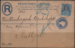 C3385-UK-Victoria-PERFIN Registered PS Cover From Finsbury To Stuttgart, Germany -1899 - Great Britain
