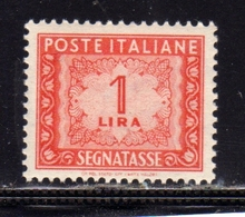 ITALIA REPUBBLICA ITALY REPUBLIC 1947 1954 SEGNATASSE TAXES TASSE POSTAGE DUE LIRE 1 RUOTA WHEEL MNH - Portomarken