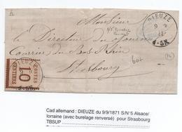 1871 - CACHET ALLEMAND De DIEUZE (MOSELLE) Sur TIMBRE ALSACE LORRAINE N°5 Avec BURELAGE RENVERSE Pour STRASBOURG - Marcofilia (sobres)