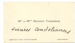 Visitekaartje - Carte Visite - Mr & Mme  Benoit Verbeke - Quesnay Par Langannerie - Calvados - Cartes De Visite