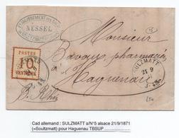 1871 - CACHET ALLEMAND De SULZMATT / SOULTZMATT (HAUT RHIN) Sur TIMBRE ALSACE LORRAINE N°5 Pour HAGUENAU - SIGNE POTHION - Marcofilia (sobres)