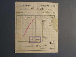 ISRAEL PALESTINE HOTEL TEL AVIV INVOICE BILL RATES 1933 JERUSALEM VINTAGE ADVERTISING DESIGN ORIGINAL - Hotel Labels