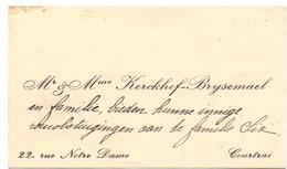 Visitekaartje - Carte Visite - Mr & Mme Kerckhof - Brysemael - Courtrai - Kortrijk - Cartes De Visite