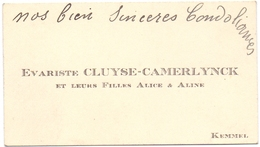 Visitekaartje - Carte Visite - Evariste Cluyse - Camerlynck - Kemmel - Cartes De Visite