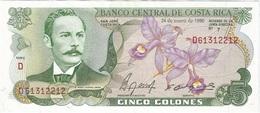 Costa Rica 5 Colones Colones 24-1-1990 Pk 236 E.1 Texto J.VILLA Correcto En Reverso Ref 3026-1 UNC - Costa Rica