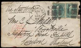 USA. 1882. Portland - UK. Fkd Env. Via Liverpool Packet. 3c (x2). - United States