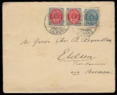 DENMARK. 1900 (23 Dec). Aalborg - Germany / Etelsen. Via Bremen. Env Fkg 4o + 8o (x2) = 20 Ore Rate / Cds. VF. - Non Classés