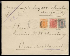 FINLAND. C.1895. Helsingfors - Oravale. Reg Insured (500 Mark) Tricolor Fkd Env. Incl 1 Mark, 3 Wax Seals Reverse. XF. - Finland