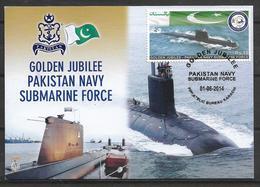 PAKISTAN 2014, GOLDEN JUBILEE PAKISTAN NAVY SUBMARINE FORCE MAXIMUM CARD - Pakistan