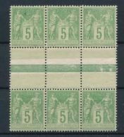 CP-116: FRANCE:  Lot   Avec N°106a** Bloc De 6(type I Et II), Pelurage Sur Inter Panneau, Gomme 2ème Choix - 1898-1900 Sage (Type III)