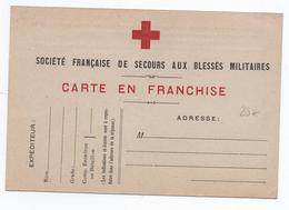 CARTE DE FRANCHISE MILITAIRE FM SOCIETE DE SECOURS AUX BLESSES MILITAIRES - CROIX ROUGE - Marcophilie (Lettres)