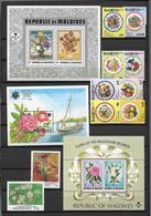 MALDIVES - FLEURS - YVERT N° 1455/1462 + 1340 + 1343 + BLOCS 14 + 20 + 181 ** MNH - COTE = 47 EUR. - Maldives (1965-...)