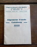 Algemeen Fonds  CATALOOG  1948   UIT .  A . DE  BOECK  Brussel - Publicités