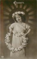 FAITH, HOPE & CHARITY 3 REAL PHOTO CHILDREN VINTAGE POSTCARDS POSTED 1910 #89603 - Gruppen Von Kindern Und Familien