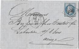 LETTRE  DE BEAUNE.. G.C 396..COTE D'OR. POUR LA BASTIDE SUR L'HERS..ARIEGE. AU DOS CACHET LA ROQUE D'OLMES.1869. - Marcofilie (Brieven)