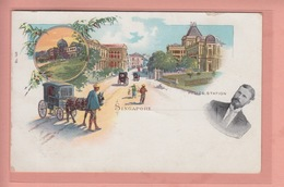 OLD POSTCARD -  LITHO - 1900'S - SINGAPORE - POLICE STATION - Singapour