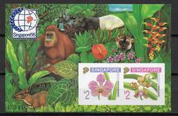SINGAPORE - YVERT BF N° 33 ** MNH - RARE NON DENTELE (VENDU à L'EXPO UNIQUEMENT) ! - FLORE + ANIMAUX - Singapour (1959-...)