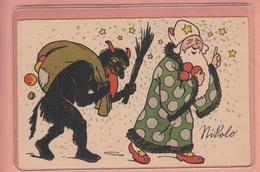 RARER OLD POSTCARD -  SANTA - NIKOLO - DEVIL - Feiern & Feste