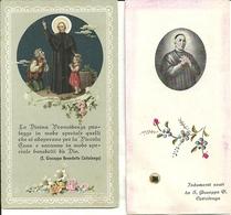 "2 Santini Di Cui 1 Con Reliquia ""San Giuseppe Benedetto Cottolengo"" Torino 1934 - Images Religieuses"