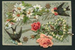 11830  CPA  Bonne Fête : Fleurs Et Hirondelles Collées  (carte Souple) - Fêtes - Voeux