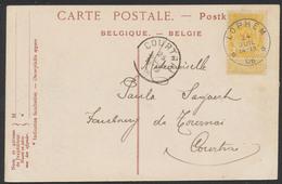 """Fine Barbe - N°54 Sur CP Vue (Bruges) + Obl Relais """"Lophem"""" (1906) Vers Courtrai - Marcophilie"""