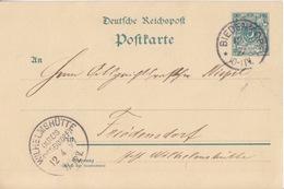 Entier 5pf Vert Reichspost De Biedenkopf (T113 Biedenkopf *c) Le 12/4/97 Pour Friedensdorf (cachet Wilhelmshütte) - Deutschland