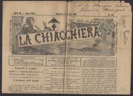 """Journal """"LA CHIACCHIERA"""" De FIRENZE 1891 Avec 2 Cmi /10Cmi COLIS POSTAL Oblt CàD  De FIRENZE (FERROVIA) - 1878-00 Humbert I"""