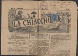 """Journal """"LA CHIACCHIERA"""" De FIRENZE 1891 Avec 2 Cmi /20Cmi COLIS POSTAL Oblt CàD  De FIRENZE (FERROVIA) - 1878-00 Humbert I"""