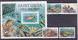 SAINTE LUCIE, Bloc N° 36+594/597, 1983, Cote 11.5€ , Poissons Tropicaux ( W1903/079) - St.Lucie (1979-...)