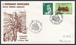Spain Espana 1984 Cover Brief Envelope - I Cent. Ferrocarril Oficina Temporal Ambulante, Alicante - Murcia - Treinen