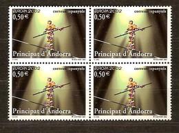 Cept 2002 Andorre Espagnol Andorra 4 X Yvertn° 280 *** MNH Cote 60 Euro Le Cirque Circus Clowns - Andorre Espagnol