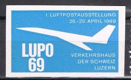 Viñeta, Vignette Label LUZERN (suisse) 1969. LUPO 69, Luftpostausstellung ** - Suiza
