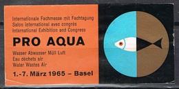 Viñeta, Vignette Label BASEL (suisse) 1965. PRO AQUA, Internationale Fuchmesse * - Suiza