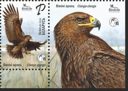 TH Belarus 2019 Bird Of Year Great Spotted Eagle Birds Fauna 1v + Label Zrf MNH - Vogels
