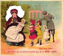 1 Carte Pliante BIERE Fanta Bières De Table Paris Nourrice Bébé Lithographie - Publicité