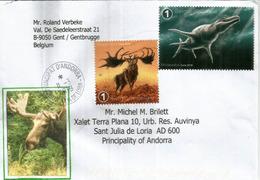 Cerf Géant & Mosasaurus,reptile Marin , Sur Lettre Belgique, Adressée Andorra, Avec Timbre à Date Arrivée - Timbres