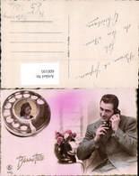 600195,Fotomontage Telefon Wählscheibe Paar Rosen Blumen Pub J. G. Paris 564/2 - Sonstige