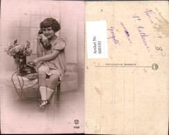 600193,Telefon Mädchen Telefoniert Wählscheibe Blumen - Sonstige