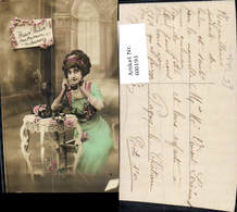 600191,Telefon Frau Telefoniert Blumen - Berufe