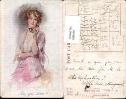 600189,Künstler Ak Telefon Are You There Frau M. Hörer - Sonstige