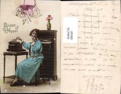 600187,Schreibmaschine Stenotypist Technik Frau Bonne Annee - Ansichtskarten
