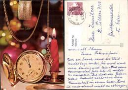 600171,Uhr Taschenuhr Gold Kerze Neujahr - Ansichtskarten