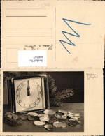 600167,Foto Ak Uhr Wecker Mitternacht Münzen Neujahr - Ansichtskarten