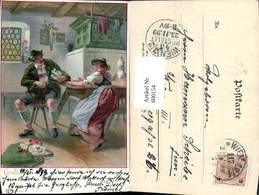 600154,Litho Paar Sitzt In Stube Kamin Kachelofen Ofen - Ansichtskarten