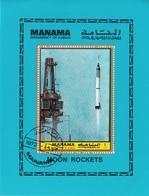 Manama 1972 Bf. 221A  Spazio Space Moon Rockets Mercury 3 Luna Satellite Sheet Perf. CTO - Ajman