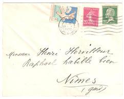 NICE Lettre 20c Semeuse Lilas Rose 30c Pasteur Vert Yv 190 174 Etiquette Tuberculose 1931 - Antitubercolosi
