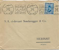 EGYPT 1932 Cover Sent To Herisau 1 Stamp COVER USED - Egypt